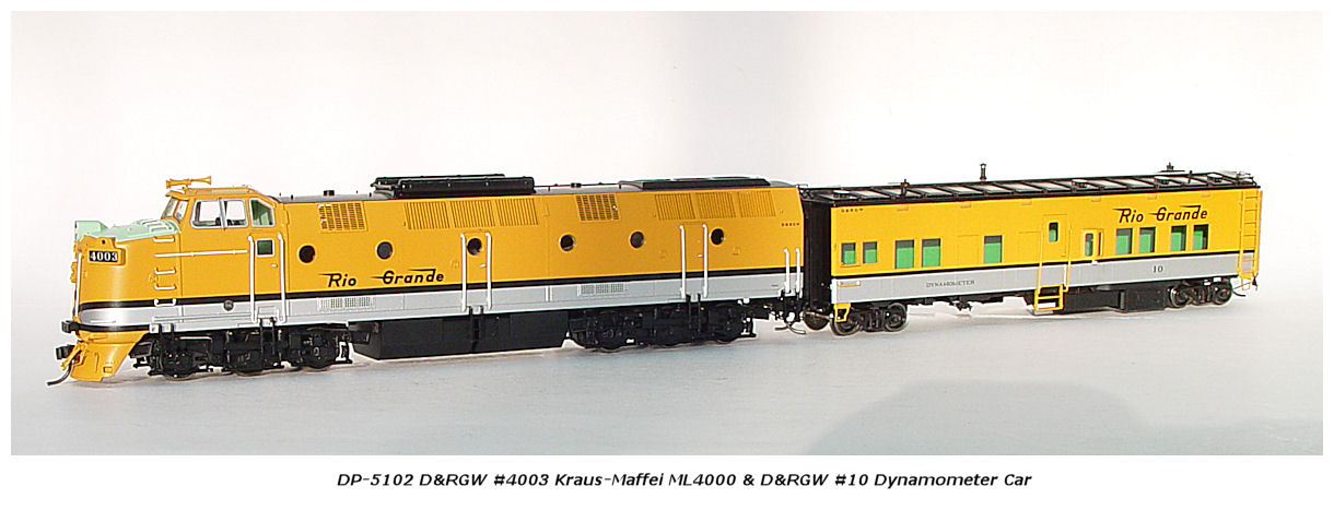 D&RGW's #4003 Krause-Maffei ML4000 with #10 Dynamometer Car (DP-5209)